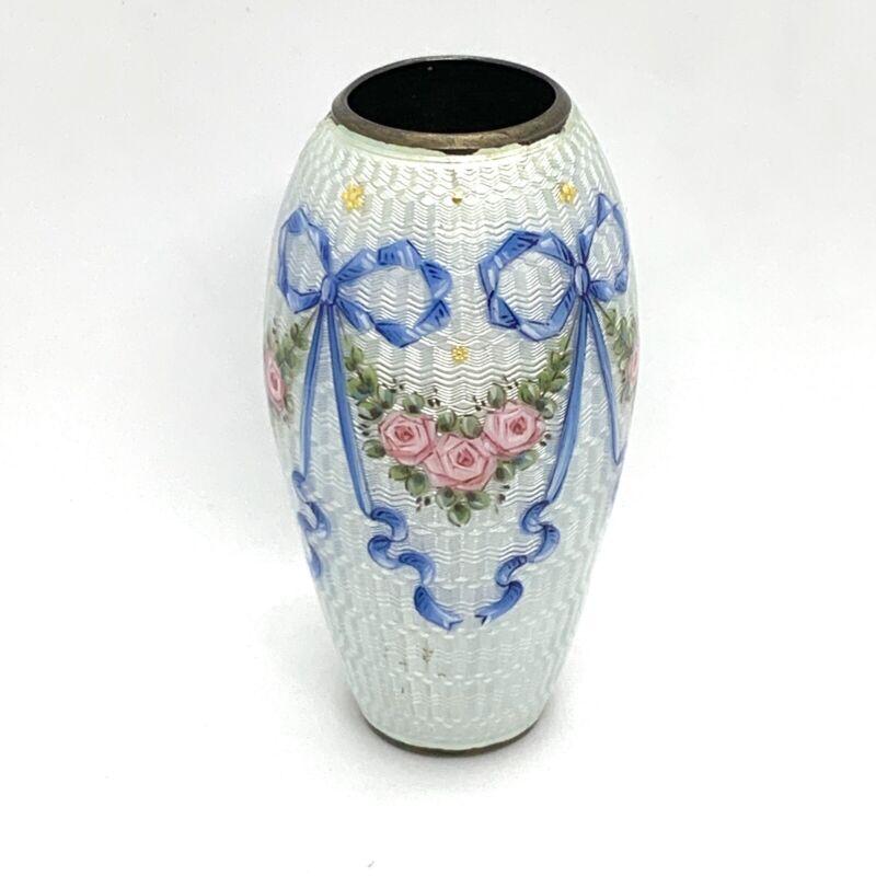 "Antique Vintage Guilloche Enamel 935 Sterling Silver Small Vase. 2.1/2"""