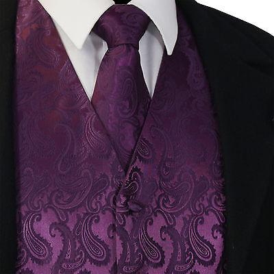 Dark Purple Wedding (Deep Dark Purple Paisley Tuxedo Dress Vest Waistcoat & Neck tie Wedding)