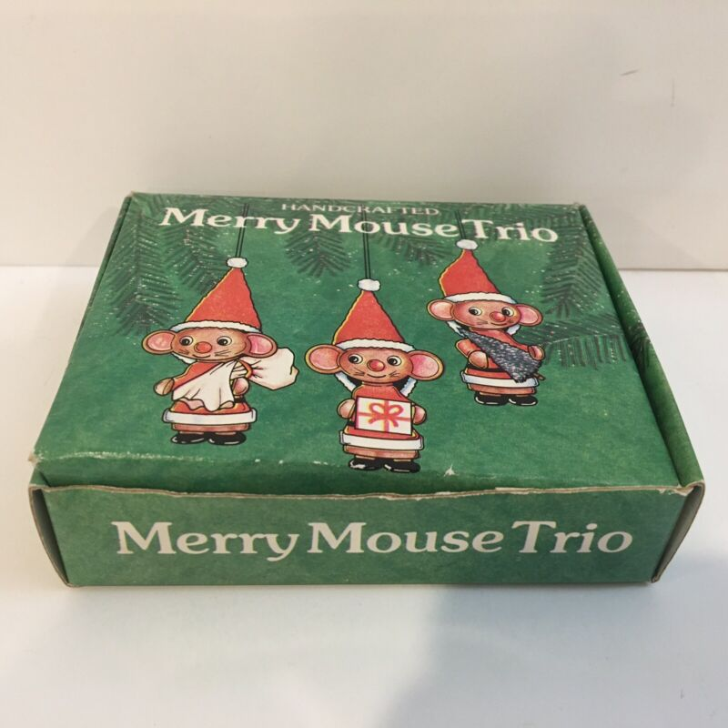 Handcrafted Merry Mouse Trio Ornaments