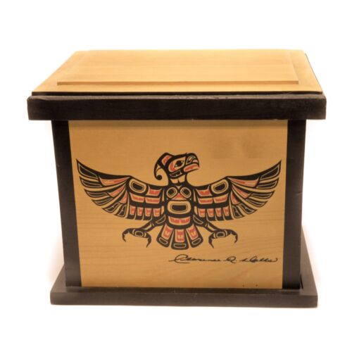Haida Pacific Northwest Native Art Clarence A Wells Square Wood Box Vintage