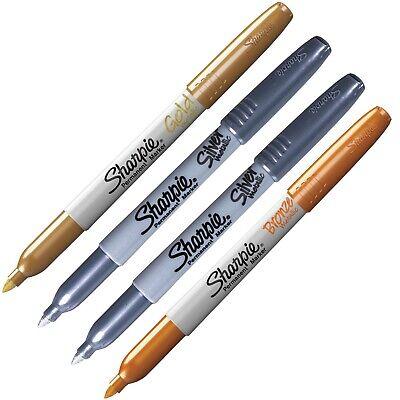 Sharpie Metallic Permanent Markers 1-bronze 2-silver 1-gold 4 Marker Set