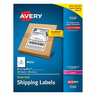 Avery Labels With Trueblock Technology 5-12 X 8-12 200-count