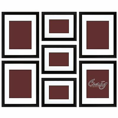Craig Frames 7 Piece Black Gallery Wall Frame Set with Glass & White Matting
