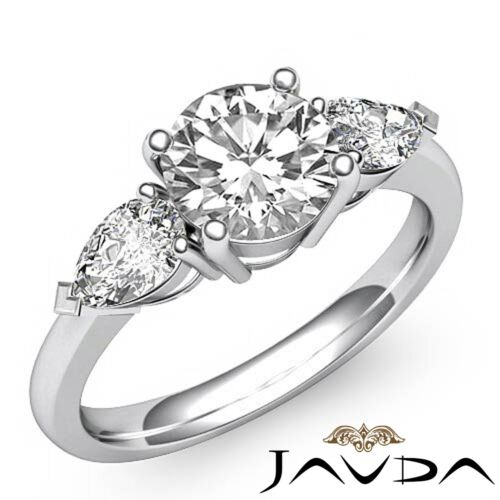 Ideal Round Diamond Engagement 3 Stone Ring GIA F Color SI1 14k White Gold 2ct