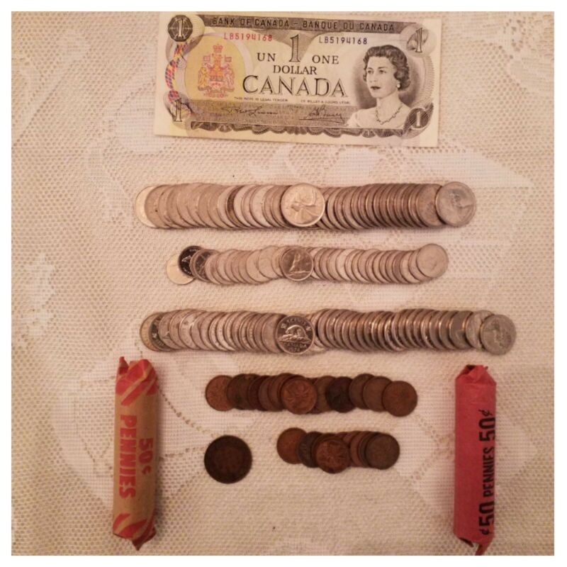 Lot Of Canadian Coin And Currency
