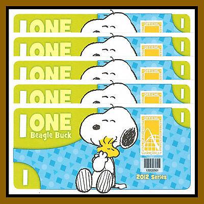 Cedar Fair 1 Beagle Buck X 5 Pcs  2012  Peanuts  Snoopy  Like Disney Dollar