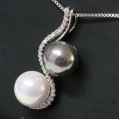 10mm AAA White Akoya Black Tahitian Pearl Diamond Pendant Necklace Women Jewelry