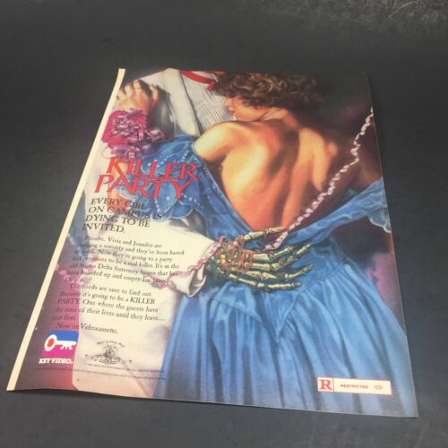 "Vintage 1986 Print AD Advert Horror Key Video KILLER PARTY Slasher Sorority 11"""