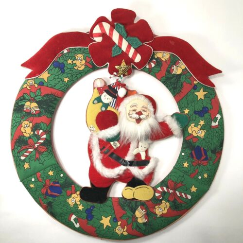 Vintage Christmas Wreath with Santa Claus in Center Fabric One Sided 14in Wide