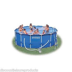 Intex 15ft round x 48 deep metal frame swimming pool set inc pump 28236 ebay for Intex 15 x 48 metal frame swimming pool