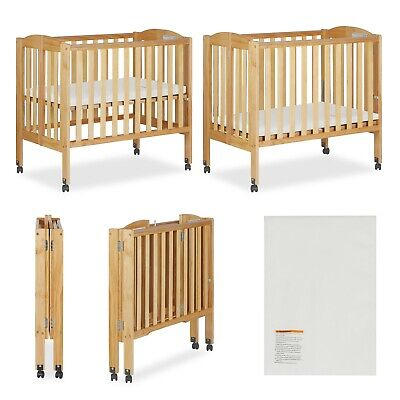 Portable Folding 2 in 1 Convertible Crib Playpen Wheeled Infant Nursery Natural