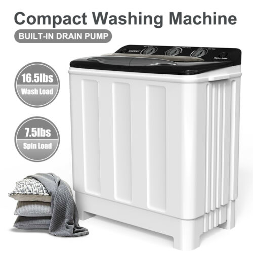 24LBS Compact Washing Machine Twin Tub Portable Washer Spinn