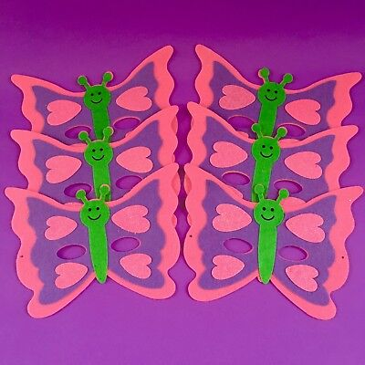 """$18. NEW! 6 Pc. Pink+Purple+Green Felt """"Smiling"""" Butterfly Masks Craft Project"""