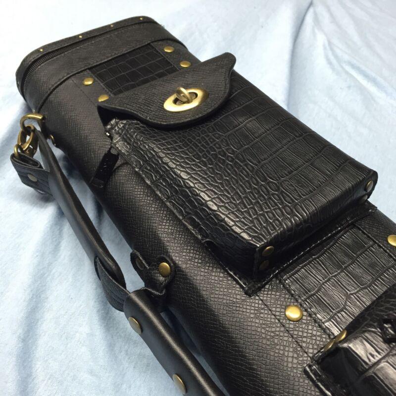JJ Black Croc Embossed Leatherette 4 Butt 6 Shaft 4x6 Lite Weight Case C46
