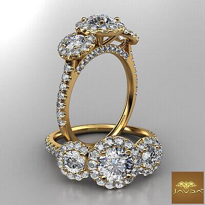 3 Stone Halo Round Natural Diamond Engagement French Pave Ring GIA E VS2 1.5 Ct