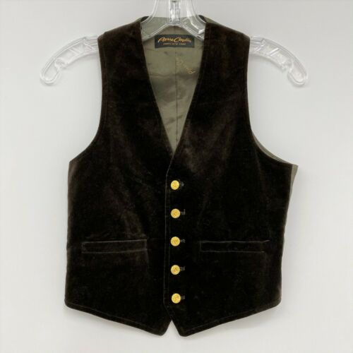 Boys Vintage Pierre Cardin Vest Brown Velvet 5 Logo Gold Buttons 9-10 Year Old
