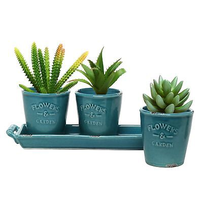 Mygift Set Of 3 Country Rustic Turquoise Ceramic Succulent Planters Flower