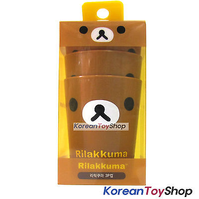 Rilakkuma Cute Plastic 3 pcs Cup Set Kids Children / Made in Korea