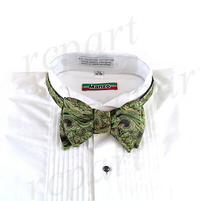 New men's self tie free style bowtie paisley poly Woven formal green -