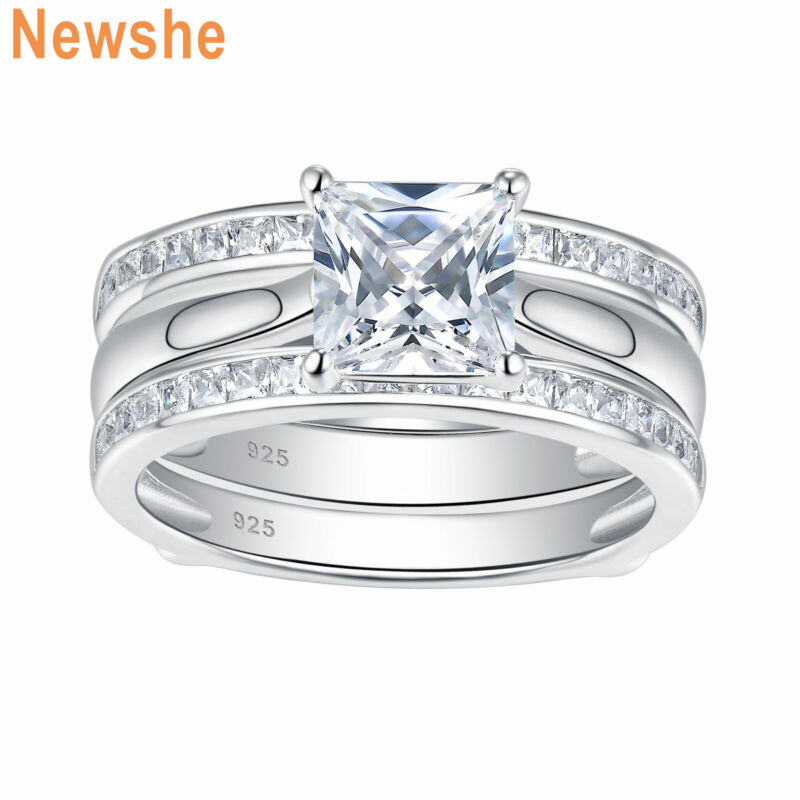Newshe Engagement Wedding Ring Set Aaaa Cz Guard Enhancers 925 Sterling Silver