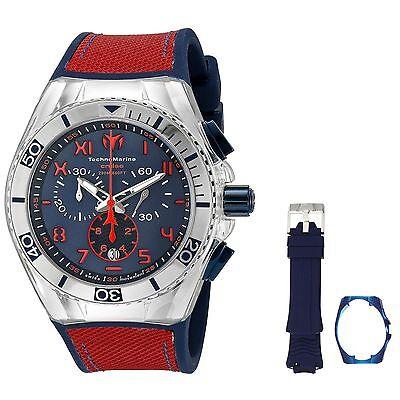 Mens TechnoMarine Cruise California Red Blue Silicone Chrono Watch TM-115071