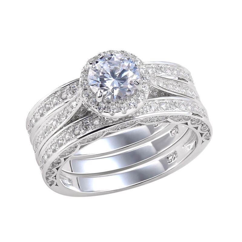 3pcs Wedding Engagement Ring Set For Women 925 Sterling Silver 2.4ct Round Cz