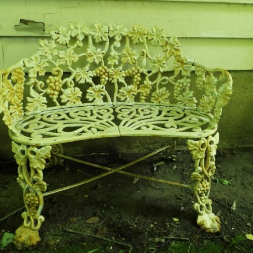Vintage Cast Iron Victorian Grape & Leaf Garden Bench