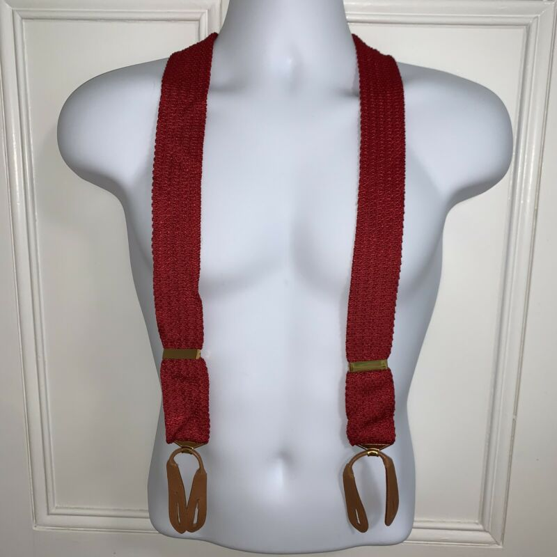VG+ Vtg 1930s RED Suspenders HICKOK Braces Tab One Size Leather Button Loops 50s