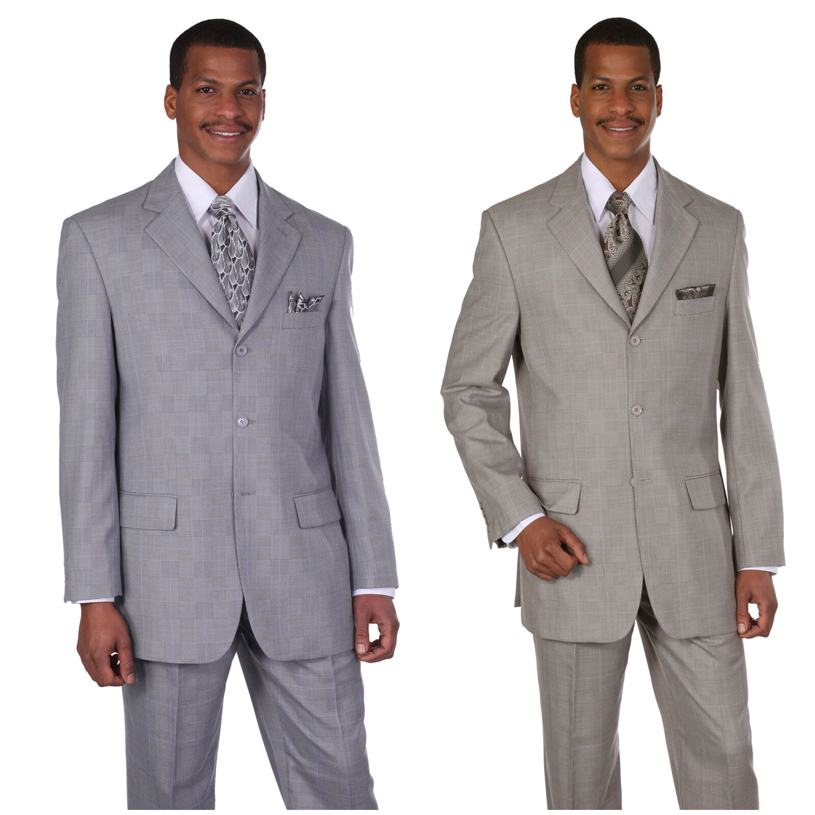 Men/'s  polyester-Rayon  wool feel 3 button double vents window pane design 58020