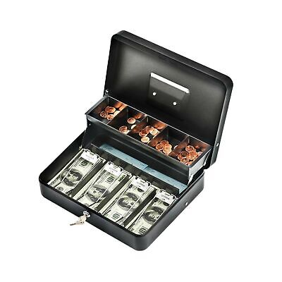 Infun Cash Box With Money Tray Durable Large Steel Money Boxes 5 Compartmen...