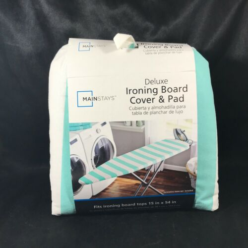 New Mainstays Deluxe Iron Board Cover and Pad Teal Blue Stripe