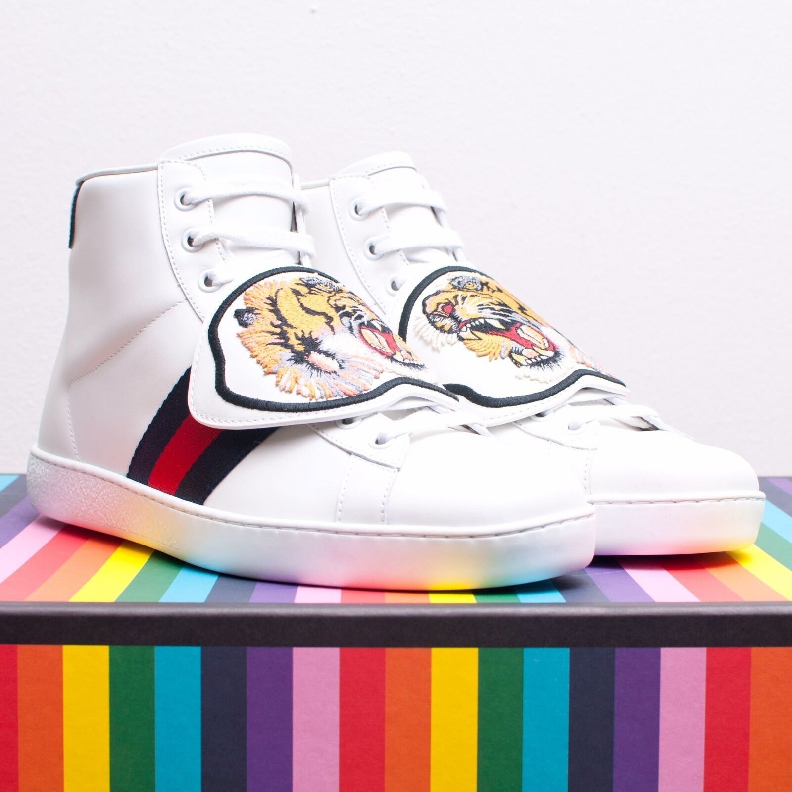 4e90b5f20 Details about GUCCI 970$ Ace High Top Sneakers In White Leather With  Removable Patches