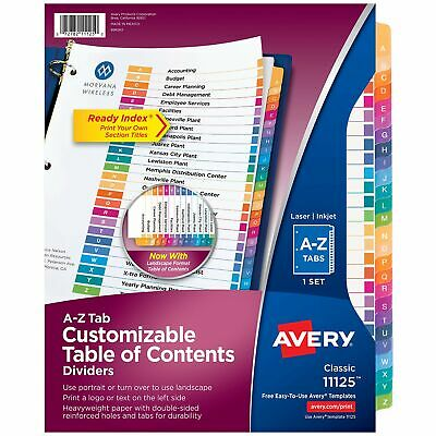 Avery A-z Tab Dividers For 3 Ring Binders Customizable Table Of Contents Mu...