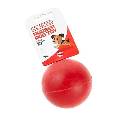 Red Large Solid Strong Tough Hard Rubber Dog Treat Ball Fetch Toys