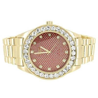 Mens Gold Finish Red Accented Face Solitaire Bezel Metal Link Custom Watch - Face Gold Metal