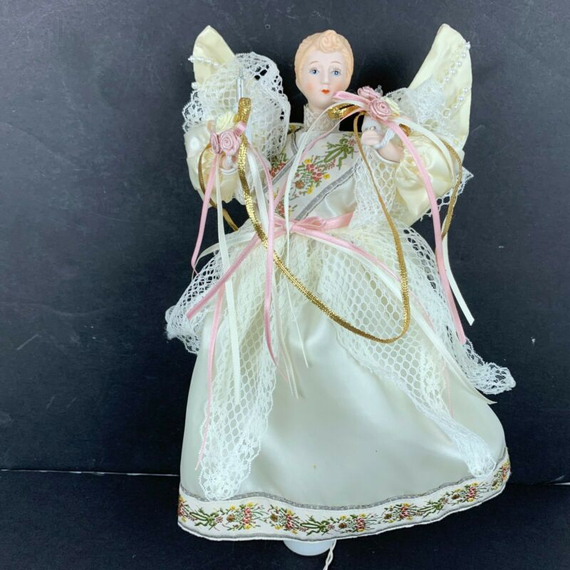 Angel Tree Topper Christmas Porcelain Face Animated Moving Wings Arms 12 in HTF