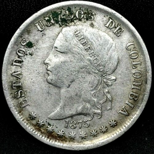 Colombia : 1875, 50 Centavos, Silver- Bogota Mint- Rare Coin KM# 177.1