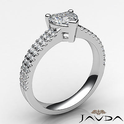 Heart Cut Diamond Engagement Double Prong Ring Certified by GIA F Color VS1 1Ct 1