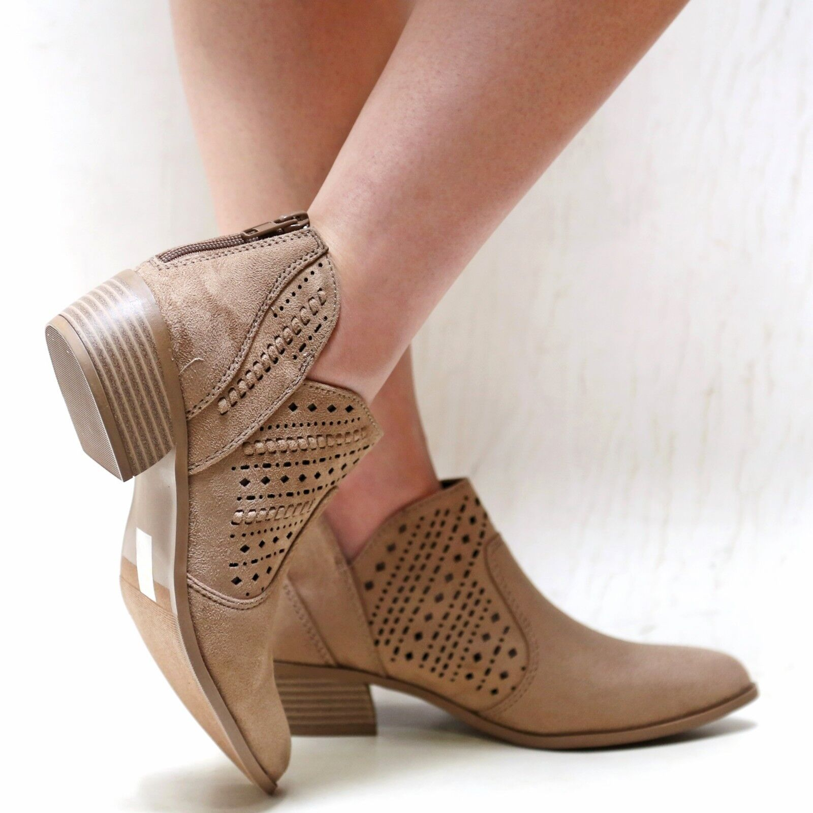New Women V Cutout Western Ankle Booties Riding Low Heel Boots 1