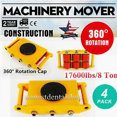 4pcsset Machine Dolly Skate Machinery Roller Mover Cargo Trolley 17600lbs8 Ton