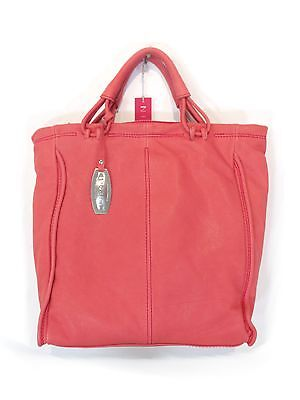 NICOLI CORAL RED LEATHER DESIGNER LUXURY ITALIAN HANDBAG SHOULDER BAG TOTE PURSE, used for sale  Shipping to India