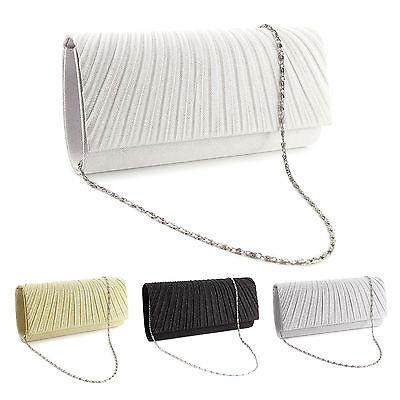 (Sparkle Glitter Pattern Satin Women Clutch Bag Bridal Handbag Evening Prom Purse)