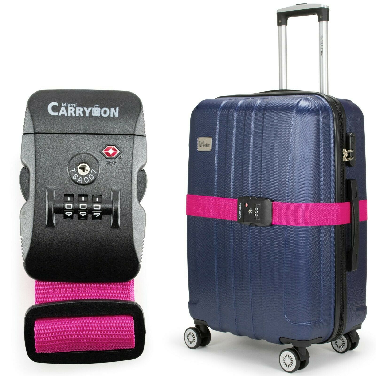 Miami CarryOn Adjustable Luggage Strap with a Built-in TSA Combination Lock Pink