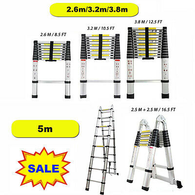 8.510.512.516.5ft Multi Purpose Telescopic Extension Ladder Step Heavy Duty
