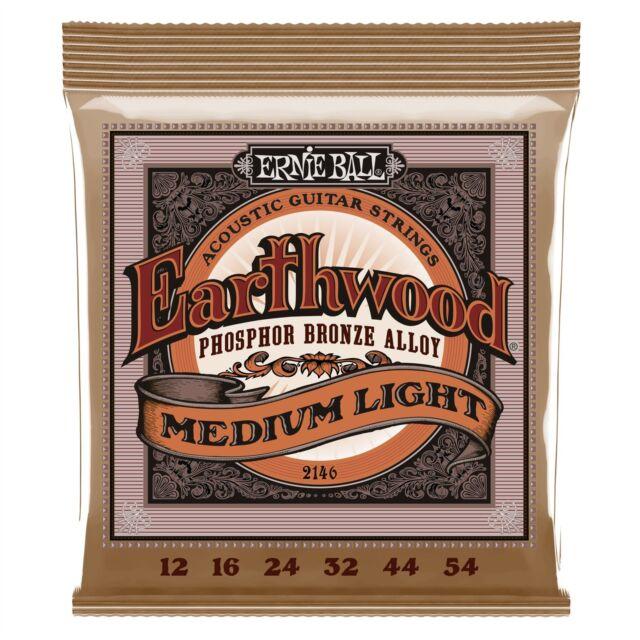 Ernie Ball Earthwood Phosphor Bronze Medium Light Acoustic Guitar Strings 12-54