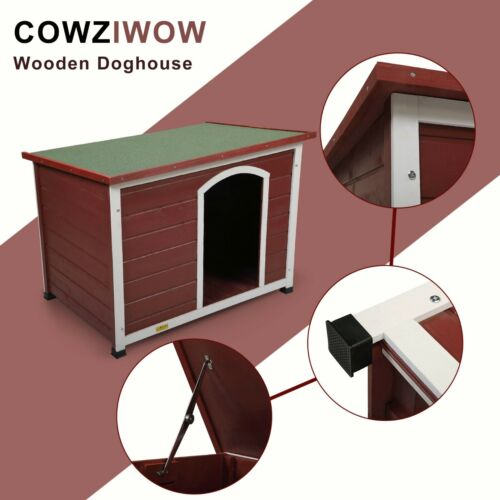 Large Wooden Dog Pet House Waterproof Dog kennel Bed with Flip-up Roof Outdoor