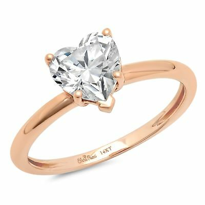 0.8ct Heart Cut Wedding Bridal Anniversary valentines Ring Solid 14k Rose Gold