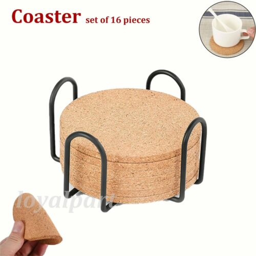 Set Of 16 Cork Coasters Absorbent With Holder Drink Coffee Tea Cup Pad Mat Decor