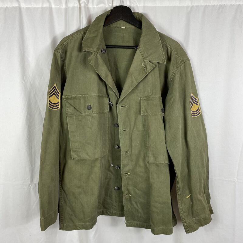 Original WWII US Army Hbt 2nd Pattern Jacket Dark OD NCO Large