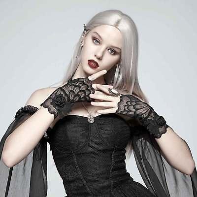 Schwarze Spitzen-handschuhe (PUNK RAVE Spitzen-Handschuhe Gothic Handstulpen Black Swan Schwarz Gauntlets)